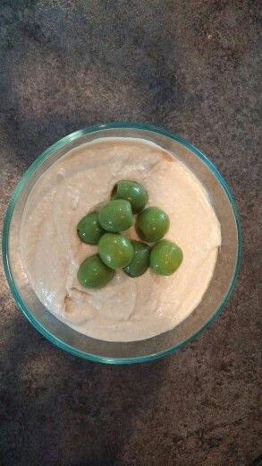 Garlic & Cumin Hummus w/Castelvetrano olives.
