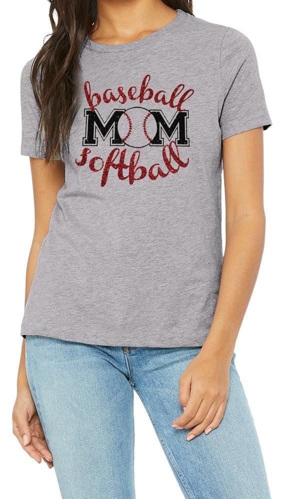 865d643cb Glitter BASEBALL and SOFTBALL MOM Womens Shirt // Baseball Bling, Softball  Bling, Ladies Sparkle Bas