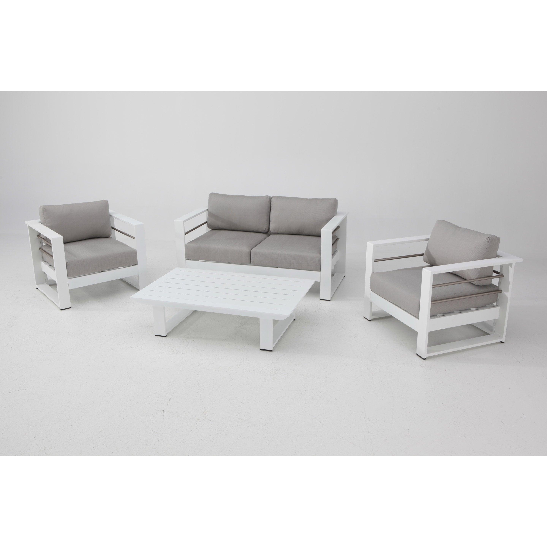 Salon bas de jardin Kyra aluminium blanc, 4 personnes ...