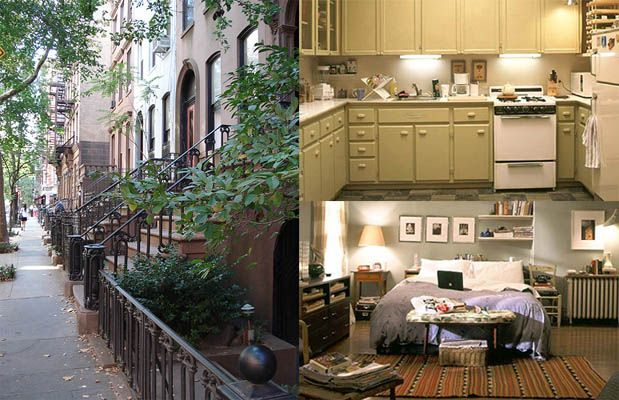 Carrie Bradshaw S Apartment And The City Well Known Stoop Alongside Her Shabby Chic Kitchen Bedroom From