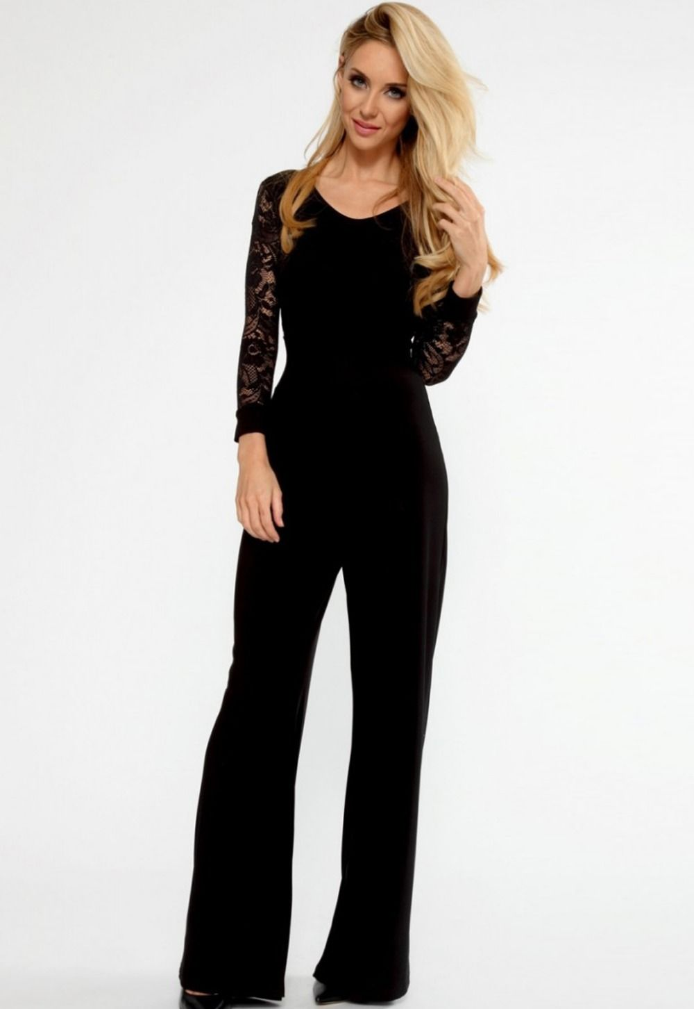 Women Bodysuit Black Flared Pant Lace Sleeve Jumpsuit Overalls for ...