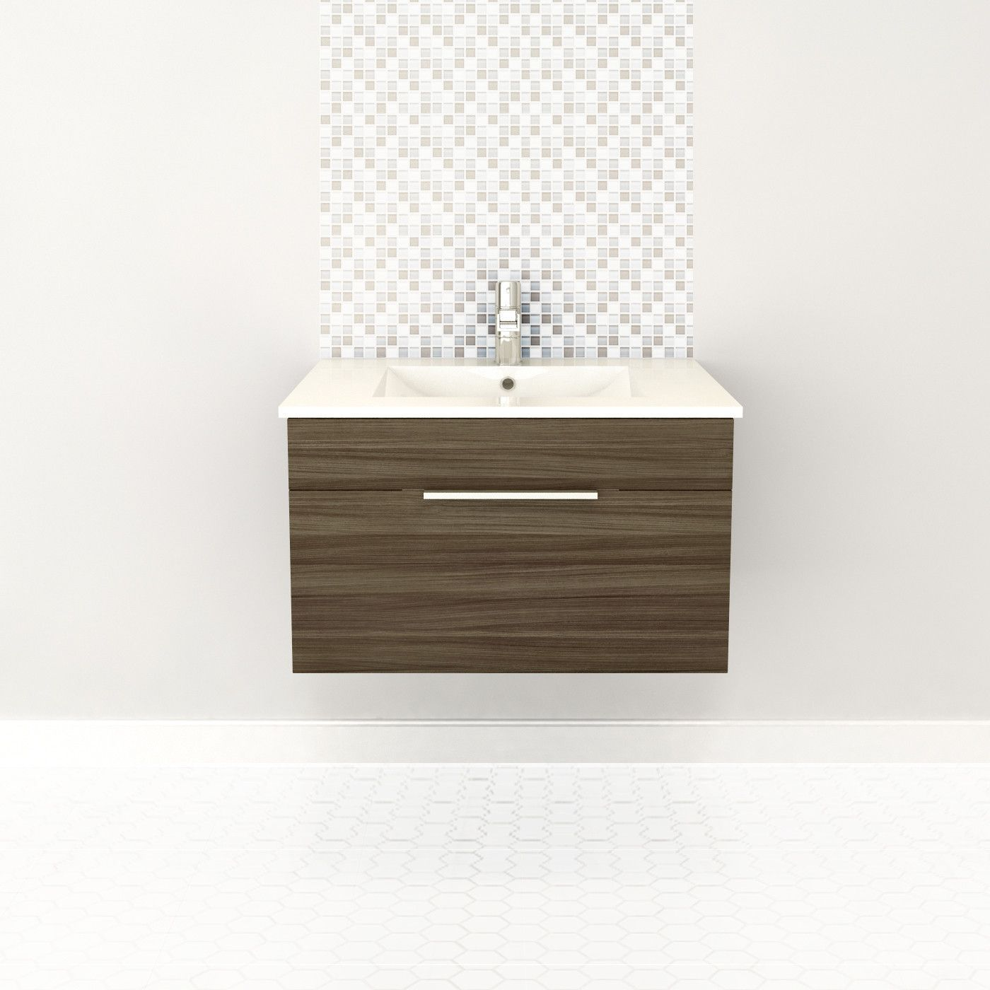 Driftwood 30 Modern Wall Hung Vanity 1 Drawer With Top