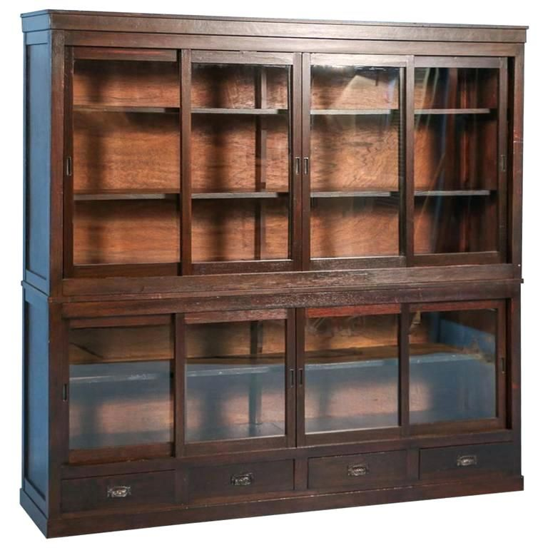 Bookcase With Sliding Doors Antique Bookcase Or Cabinet With Sliding