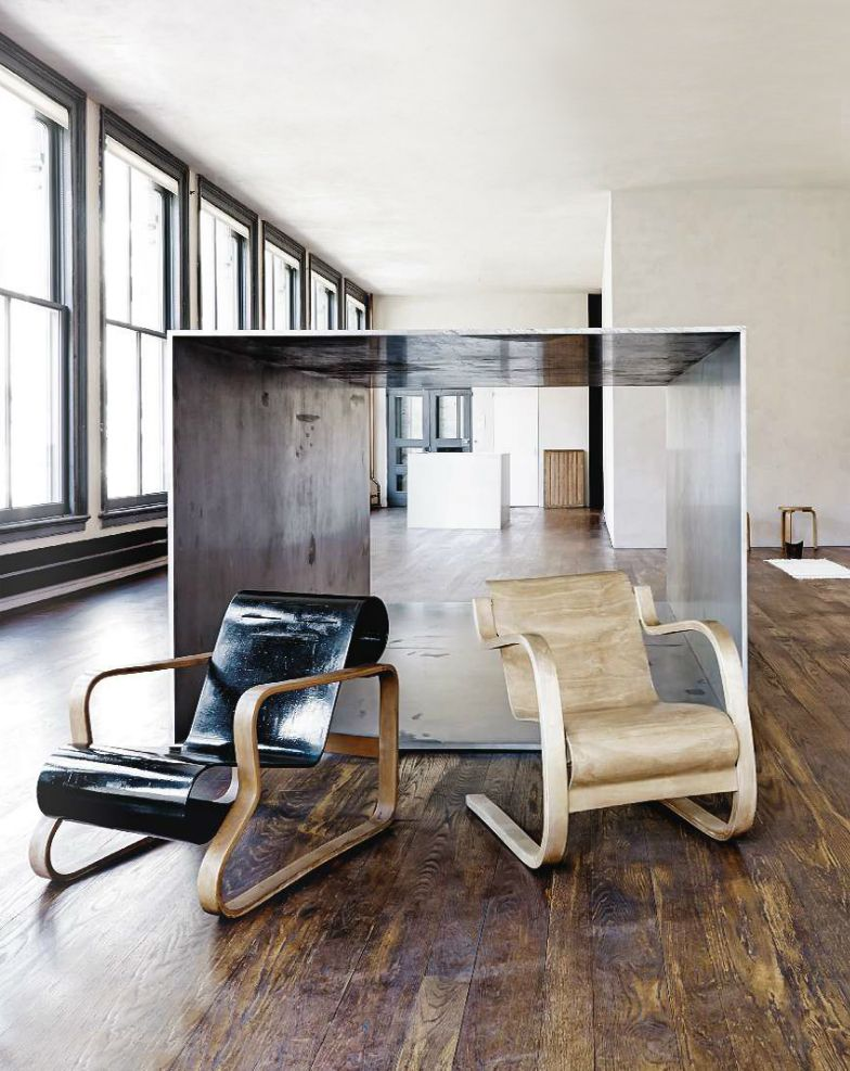 Interior view from the artist Donald Judd´s home-studio in New York´s Spring Street (now a days Donald Judd Foundation), featuring early original Alvar Aalto furniture from Judd´s extensive design...