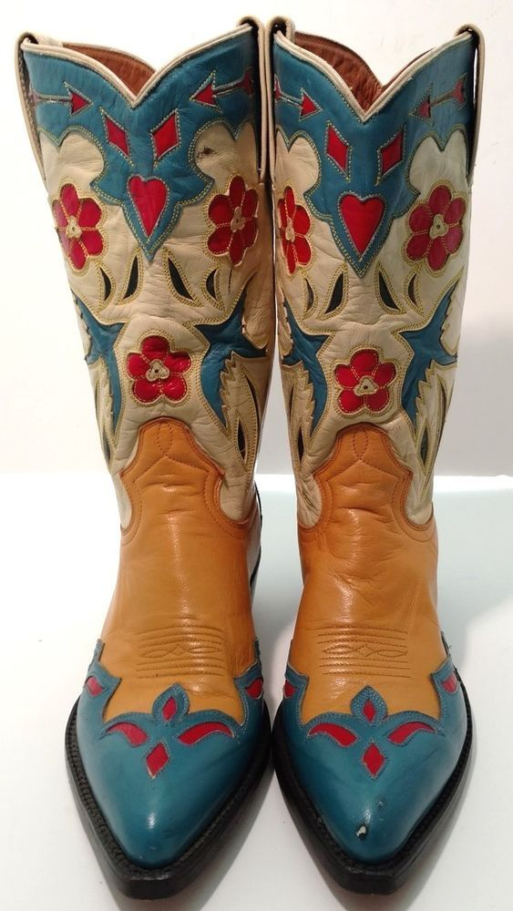 850b9cfae1c Vintage Ladies Montana Cowboy Boots - Bluebirds-Red Hearts and ...