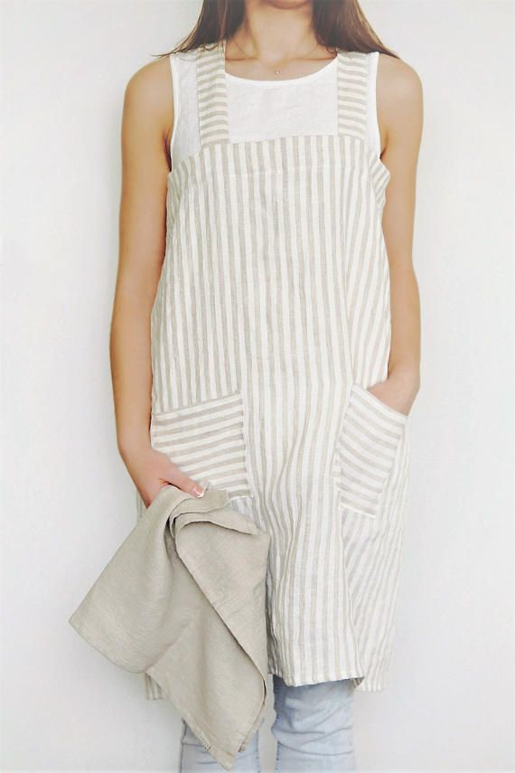 894df7979 Natural cross apron. Japanese apron. Striped pinafore apron. No ties apron.  Cross over apron.