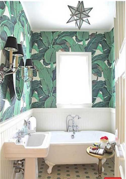 10 ideas para decorar el cuarto de ba o con papel pintado ba os bathroom pinterest - Papel decorativo para banos ...