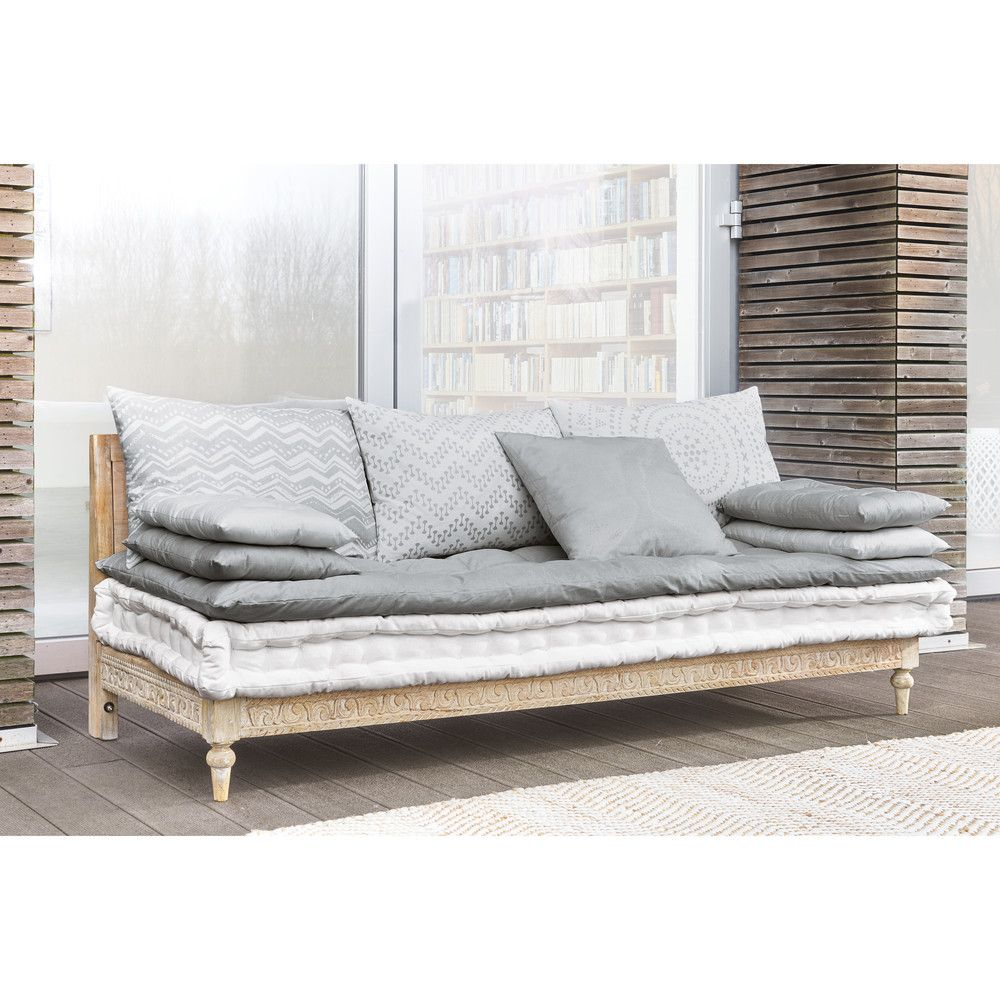 2/3-seater banquette in grey and white cotton in 2019 | Model | Grey ...