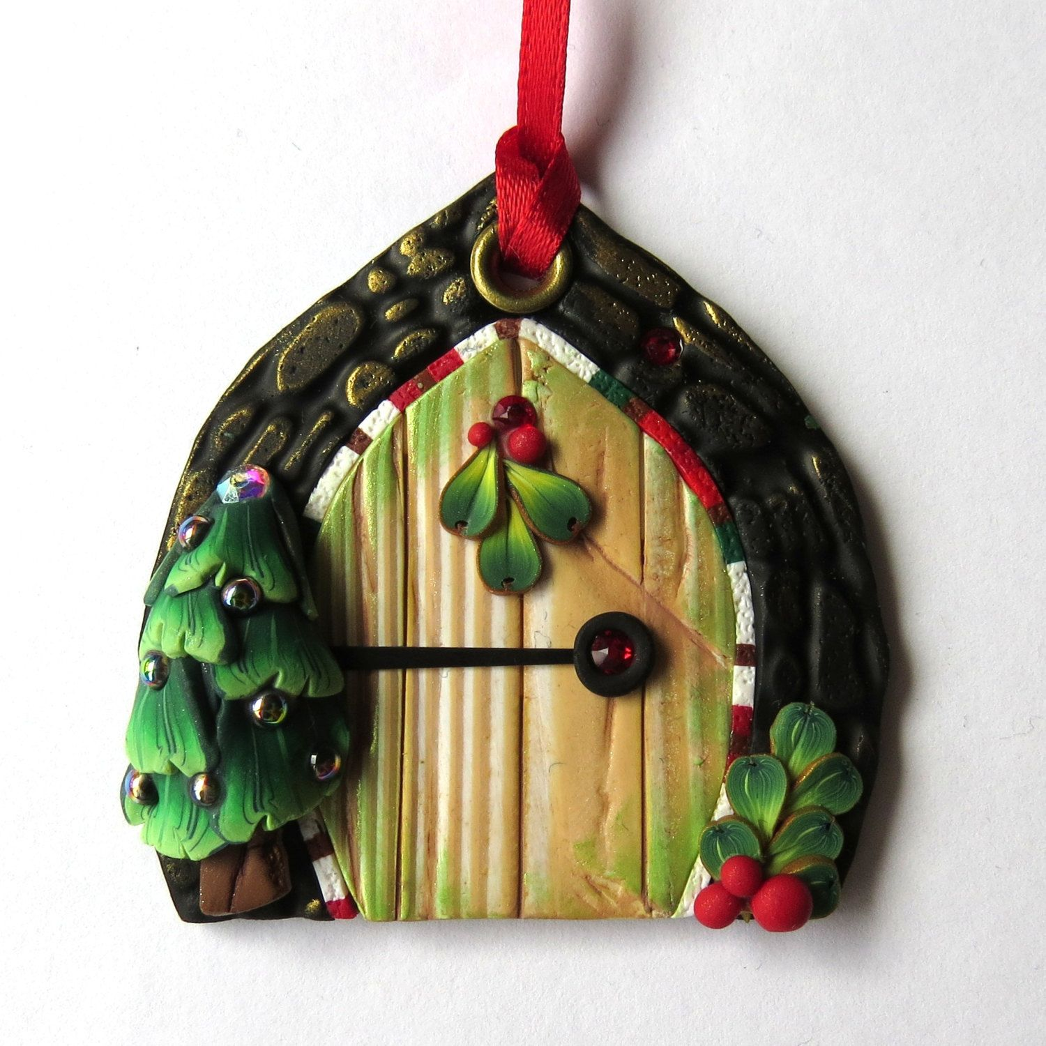 Elf Door Ornament Christmas Tree Ornament Holiday Decoration Polymer Clay Miniature Holiday  sc 1 st  Pinterest & Elf Door Ornament Christmas Tree Ornament Holiday Decoration ...