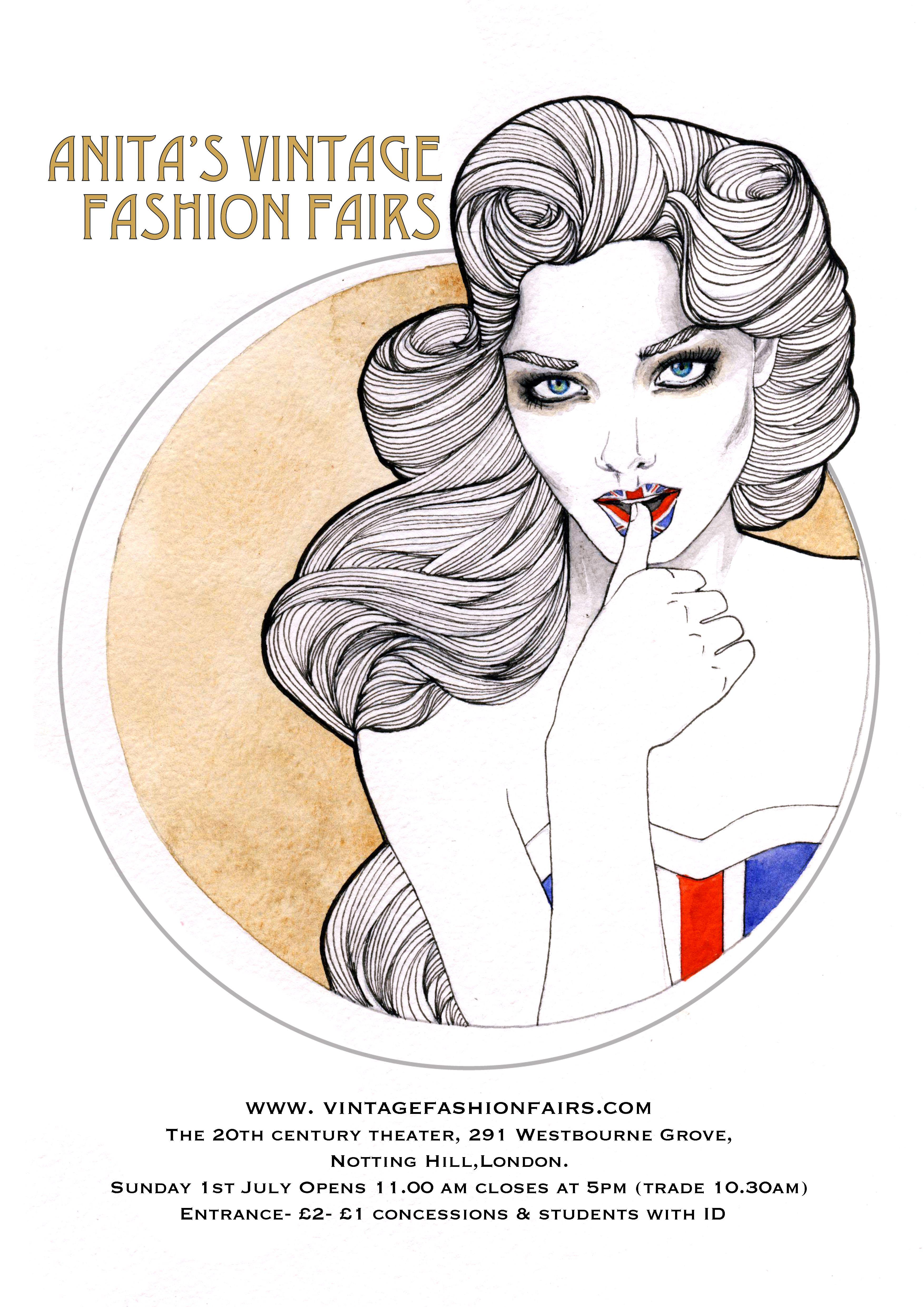 Anita S Vintage Fashion Fair July 1st Poster Designed By Madalen Dixon Www Madalendixon Co Uk Vintage Fashion Poster Design Vintage