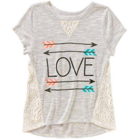 Miss Chievous Girls' Short Sleeve Crochet Panel Hi Lo Love Arrows Top, Size: Medium, White