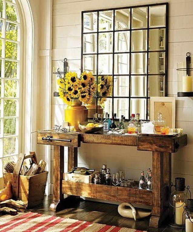 Recibidores r sticos para tu casa r stico decorar tu for Espejos como decorarlos