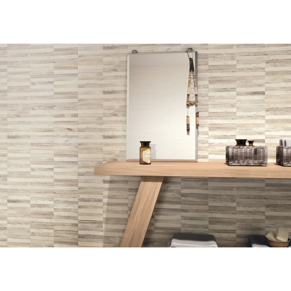 Carrelage mural d cor salle de bain 26x60 5 raphia 3d collection fiber naxos mosa ques - Decor mural salle de bain ...