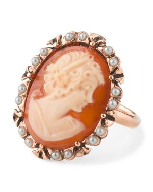 Made In Italy Rose Plated Sterling Silver Pearl Cameo Ring