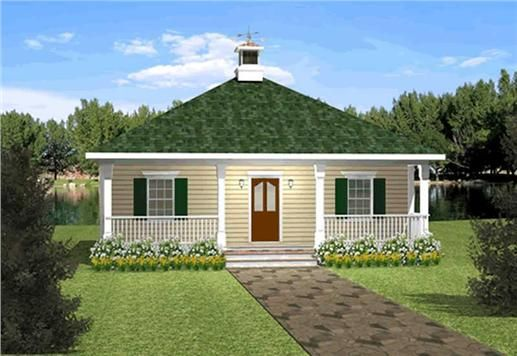 simple roof country house plans | This is a simple home plan with a large covered porch and ...