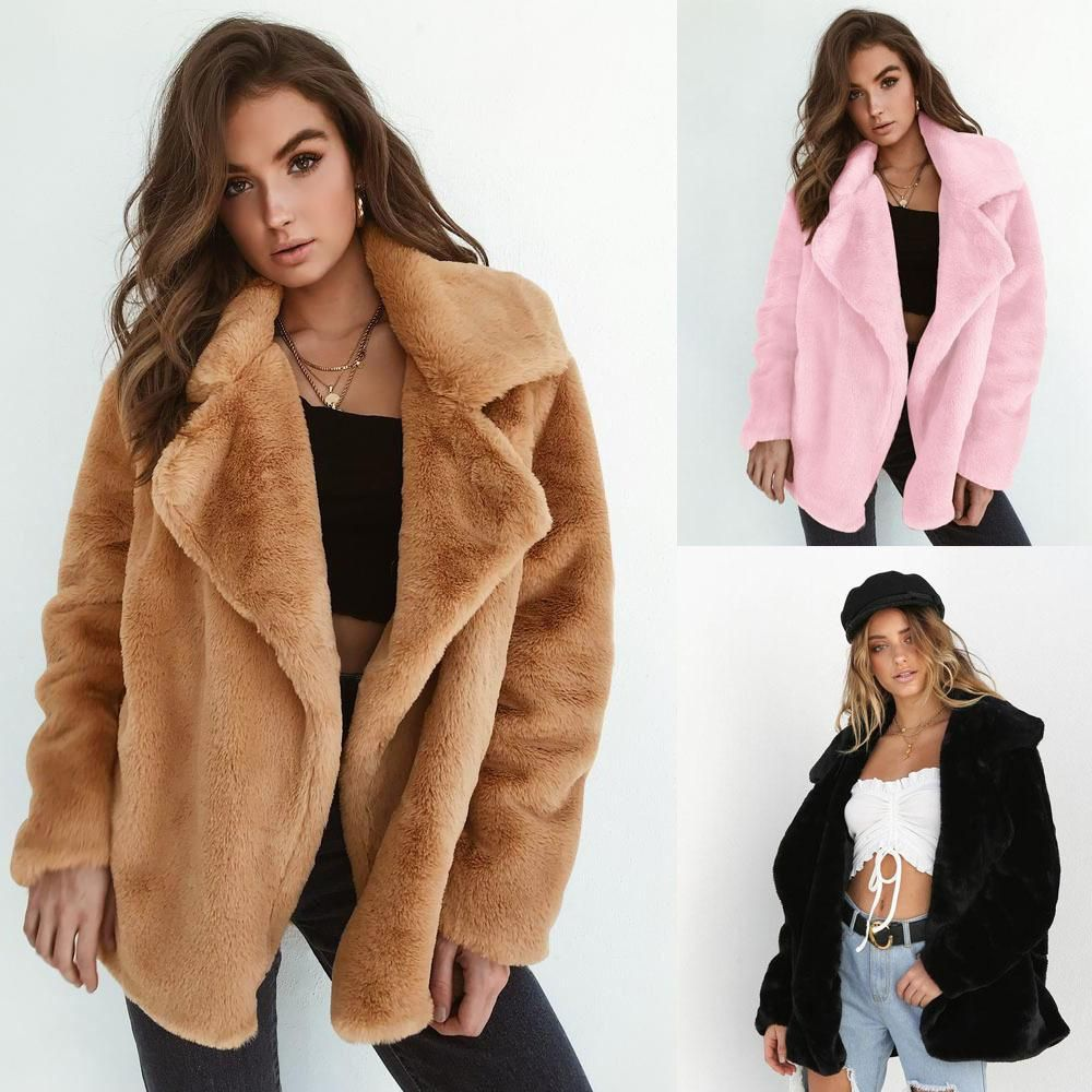 e4c2b8abe74f8 Lapel Collar Open Warm Solid Color Women Winter Short Teddy Coat   shopaholic  fashionstyle  outfitoftheday  model  girlfashion   meetyoursfashion ...