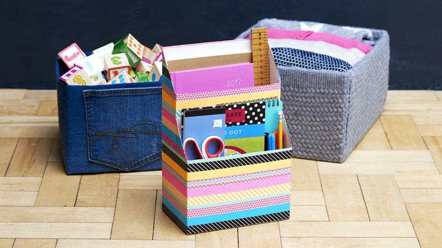 decorative cardboard box storage diy storage ideas. Black Bedroom Furniture Sets. Home Design Ideas