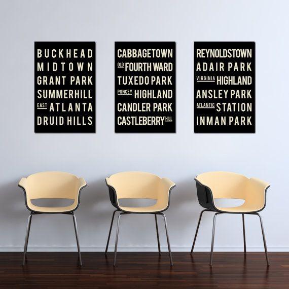 Subway Sign, ATLANTA Prints, Typographic Art Poster, Modern Art ...