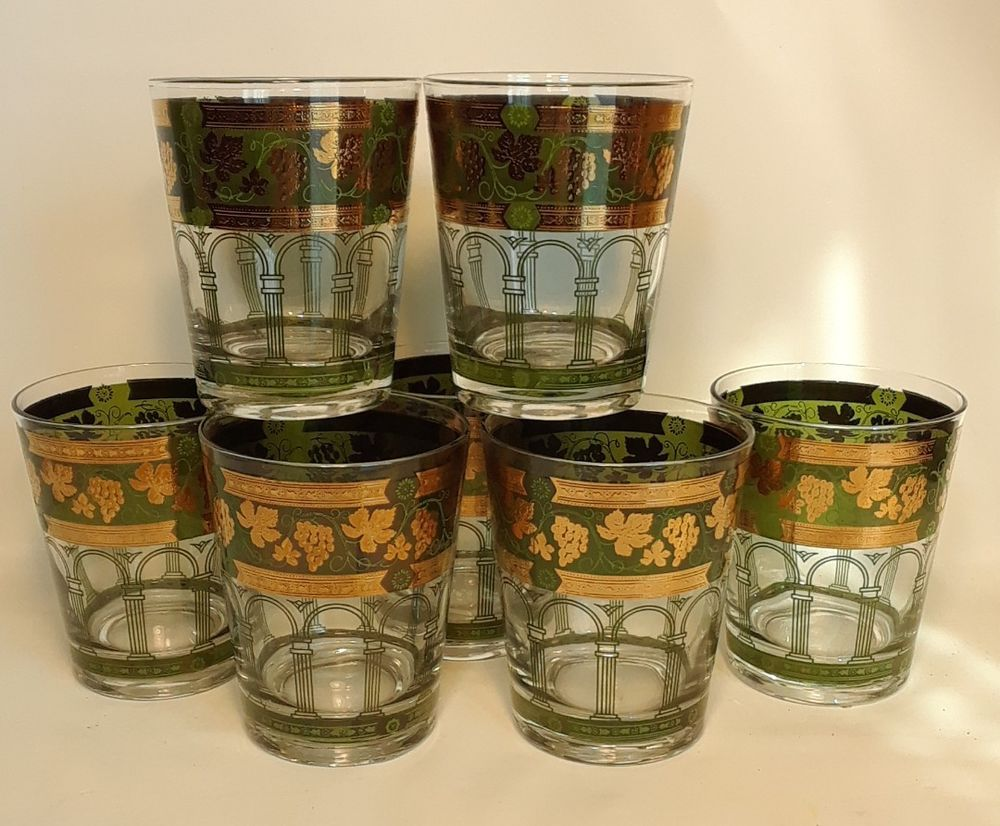Drinking Glasses 7 Low Ball Whiskey Glass Grape Leaves Roman Columns Gold Green Unbranded