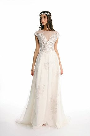 7b85302c48 Romantic Roman Empire Inspired Painted lace wedding dress with A-line  skirt