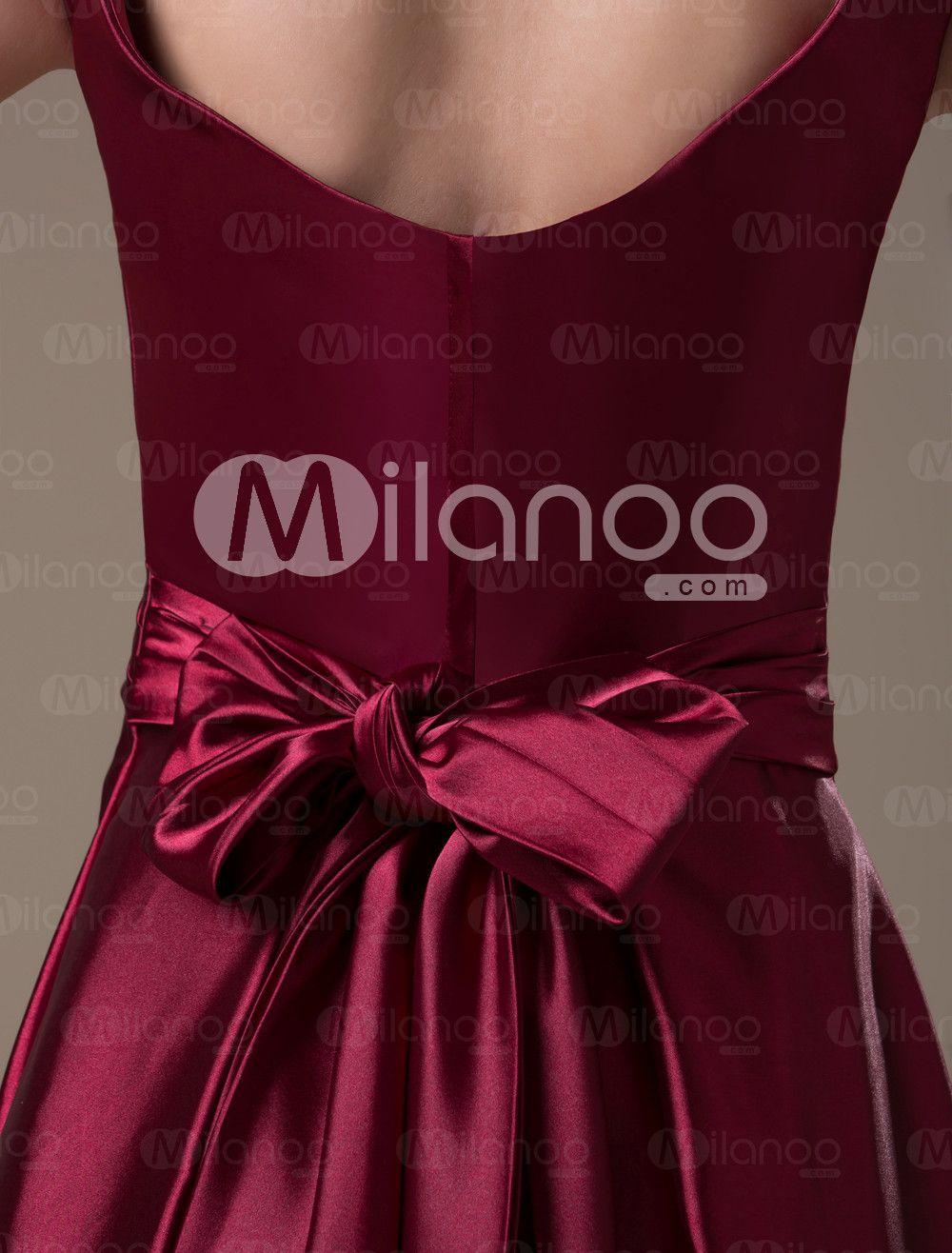 2a8b83efb52 Burgundy Hot Spandex Satin Floor-length Maternity Bridesmaid Dress -  Milanoo.com