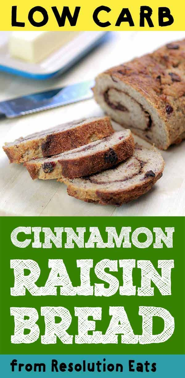 This recipe for Low Carb Cinnamon Raisin Bread is a real yeast bread with only 4g net carbs per slice. #resolutioneats #lowcarb #sugarfree #flaxseedmealrecipes