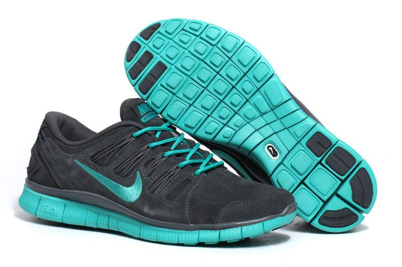 $93.98 discount to $46.99 for Womens Deep Grey New Green Nike Free 5.0  Suede Running Shoes