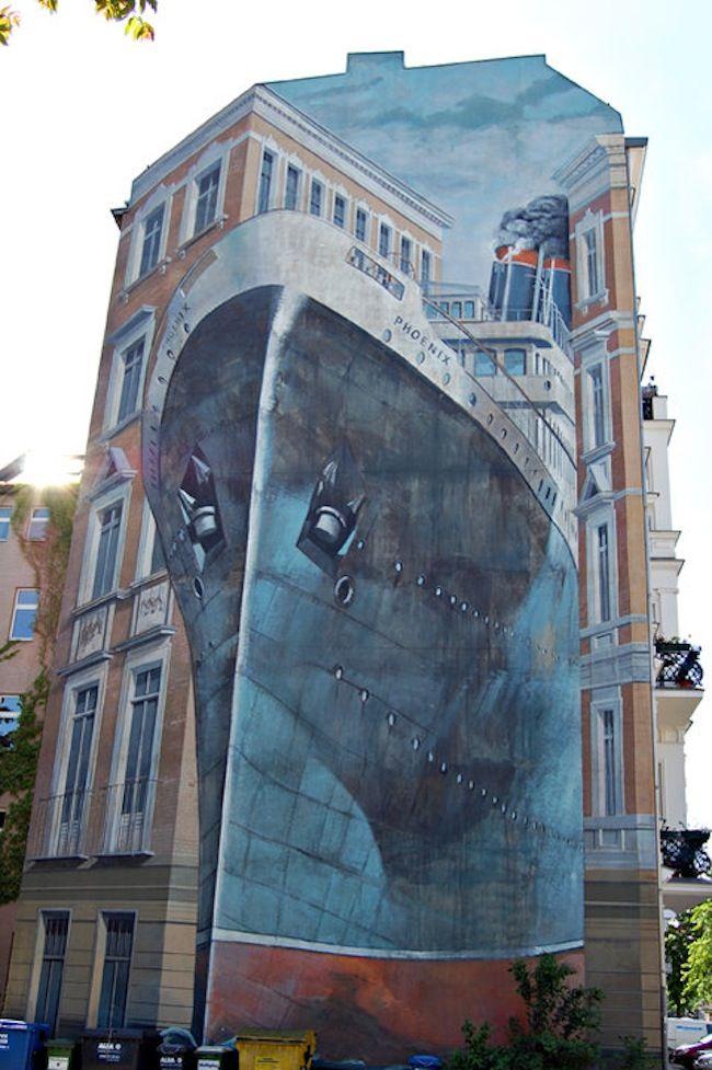 Symbolic Mural In Berlin Of Ocean Liner Phoenix Street Art - Spanish street artist transforms building facades into amazing artworks