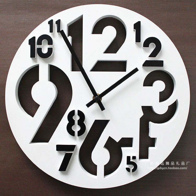 Interesting Wall Clock 12 Inch Number Abstract Fashion Creative Wall Clock Plastic Mute Funny Relogios Artesanais Relogio De Parede Ideias