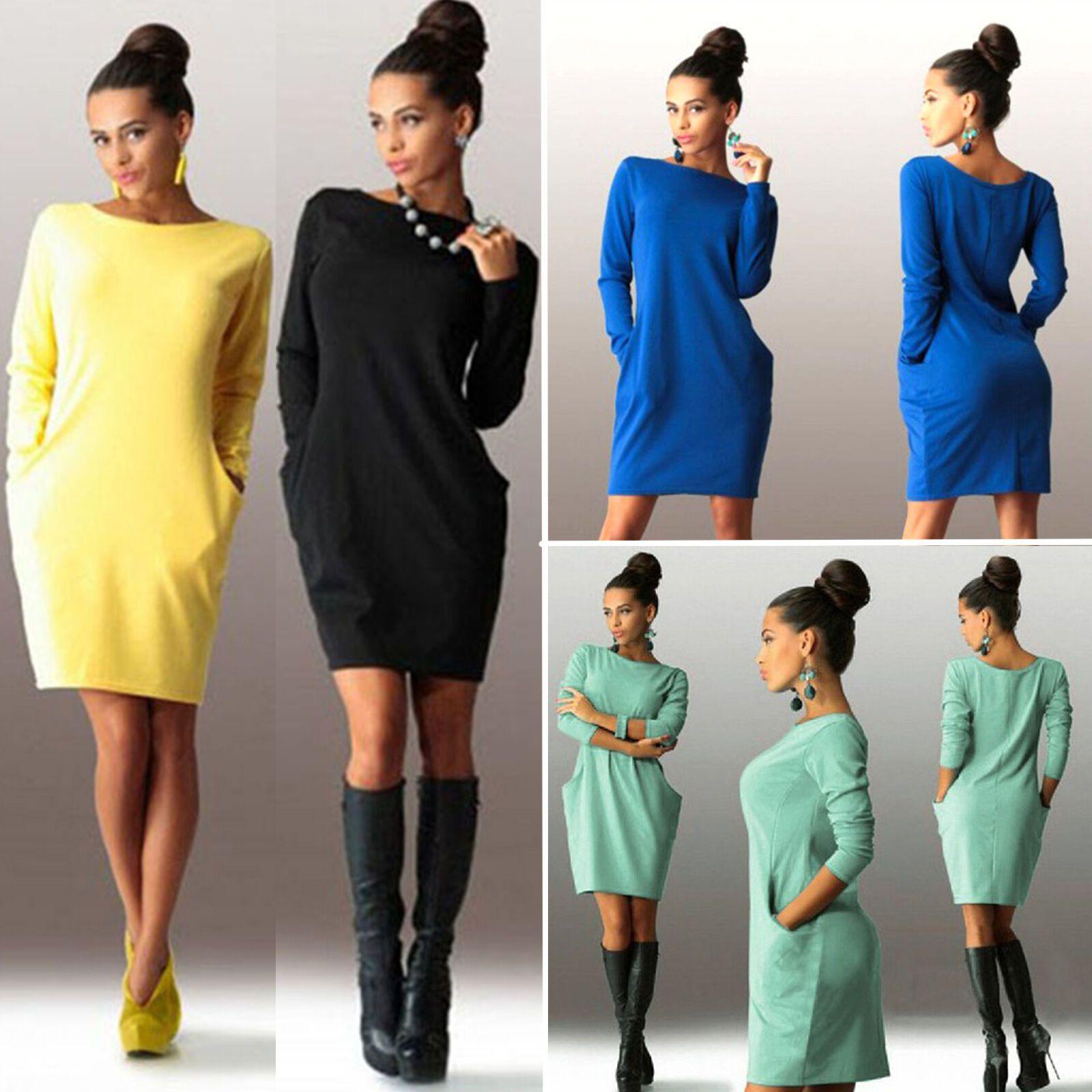 Damen Langarm Minikleid Tunika Etuikleid Pullover Sweatshirt Kleid