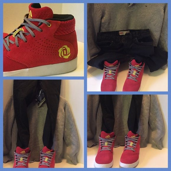Red Suede adidas D Rose- Grade School Boys 6.5 Red Suede adidas D Rose Lakeshore Mid Boost - Grade School Boys. LIKE NEW Adidas Shoes Sneakers