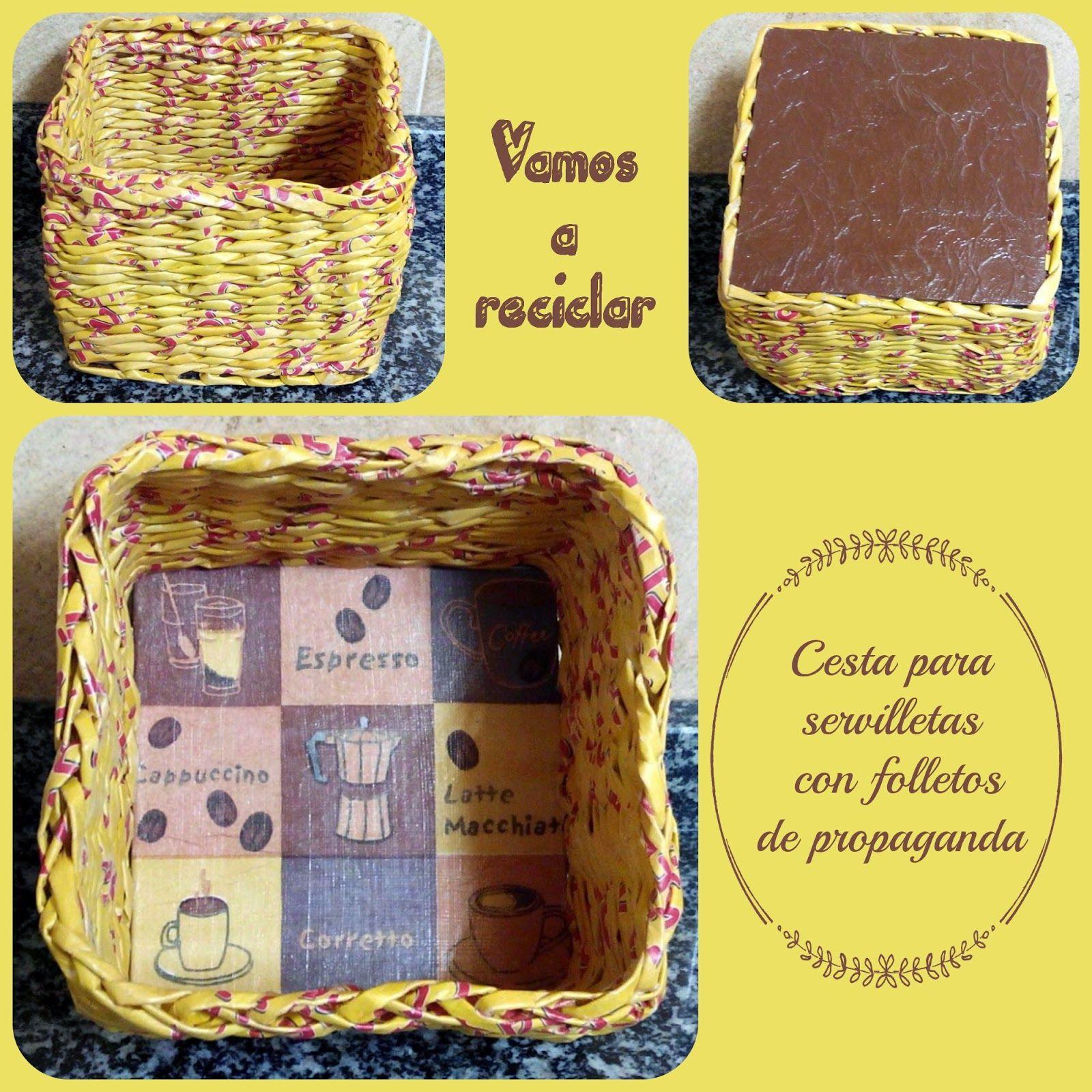 Vamos a reciclar cesta para servilletas con folletos de - Reciclar cestas de mimbre ...