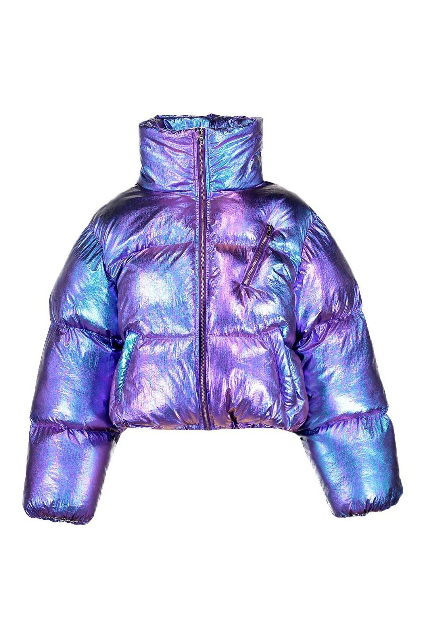 Metallic Puffer Jacket Boohoo Metallic Puffer Jacket Wrap Up In The Latest Coats And Jackets And Holographic Jacket Realistic Drawings Holographic Fashion [ 2223 x 1482 Pixel ]