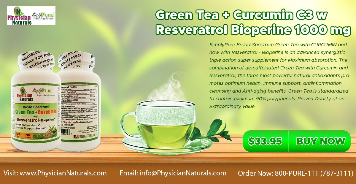 Green Tea and Curcumin C3 w Resveratrol Bioperine 1000 mg