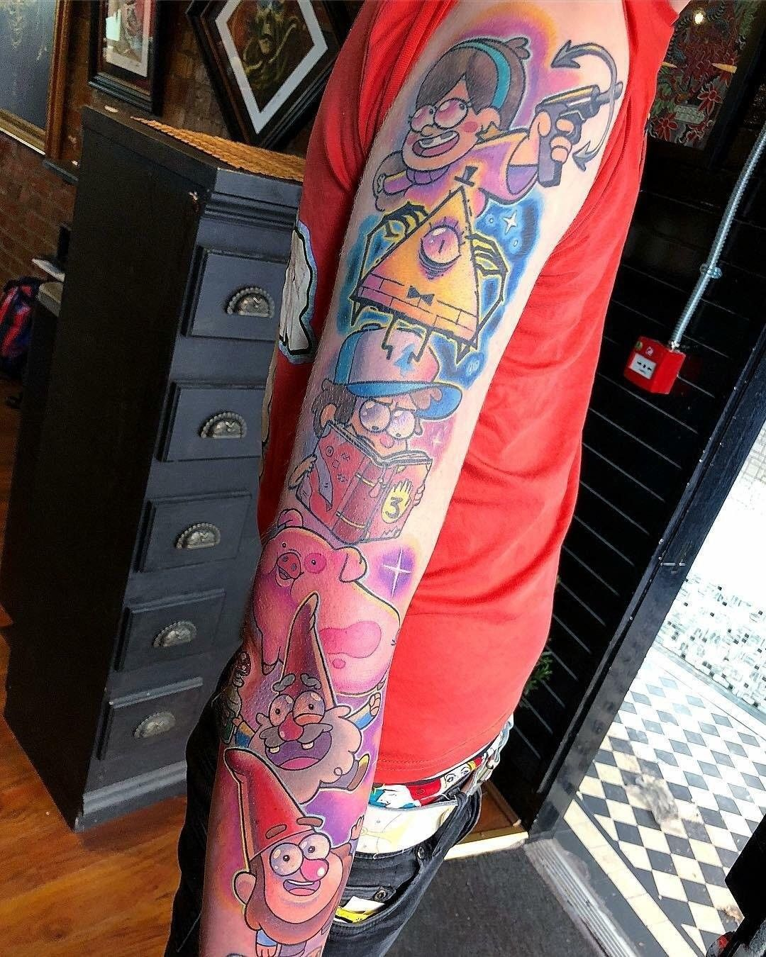 Geek Tattoos Colourful Gravity Falls Tattoo Sleeve Gravityfalls Geek Gravity Falls Autumn Tattoo Gravity Falls Cosplay