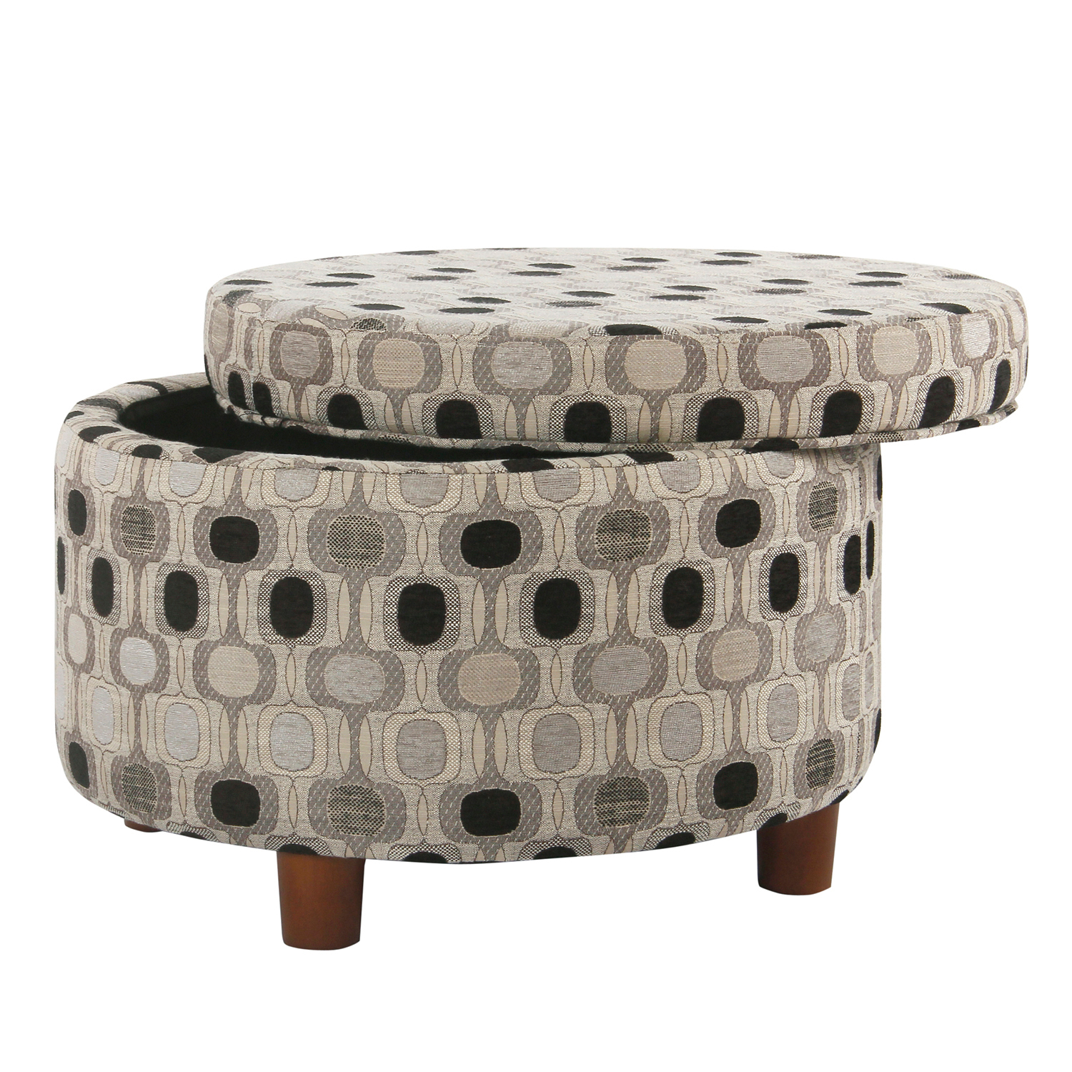 Black Geometric Patterned Round Storage Ottoman