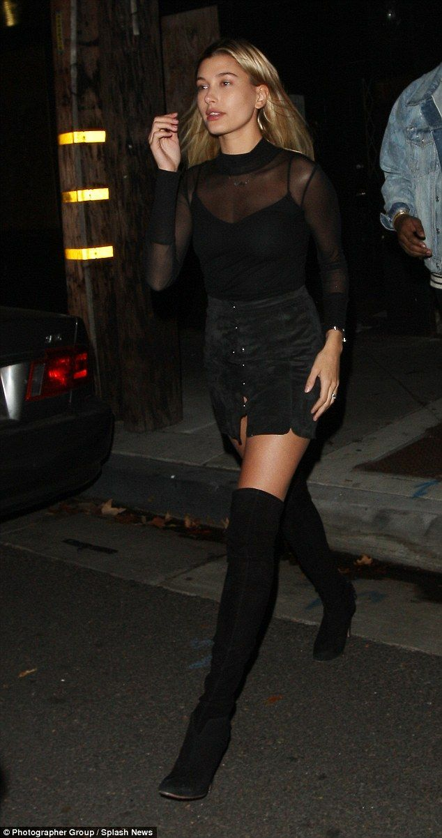 13765d5ebbed Hailey Baldwin flashes a hint of her assets in sheer mesh top