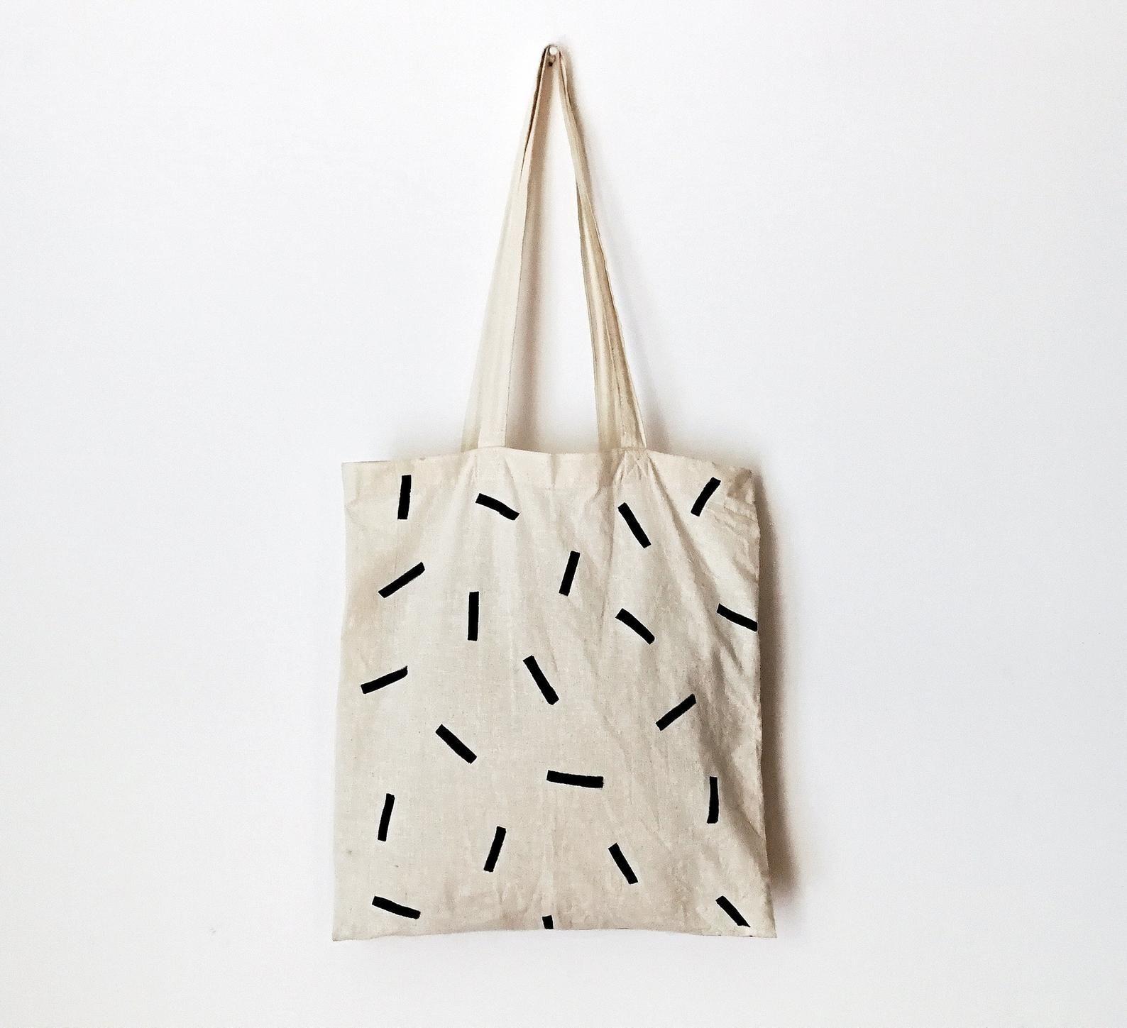 Bolsa de algodón, bolsa minimalista, lienzo natural, bolsa de lona, pintada a mano, bolsa para desechos, bolsa ecológica, compras, bolsa pintada a mano