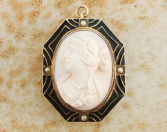 Antique Shell Cameo Pin/Pendant Surrounded by Black Enamel and Gold Lines w/ Seed Pearls