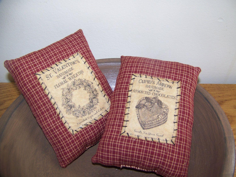 Set Of 2 Primitive Valentine Homespun And Vintage Logo Pillow Tucks by MondaysChildPrims on Etsy https://www.etsy.com/listing/218046892/set-of-2-primitive-valentine-homespun