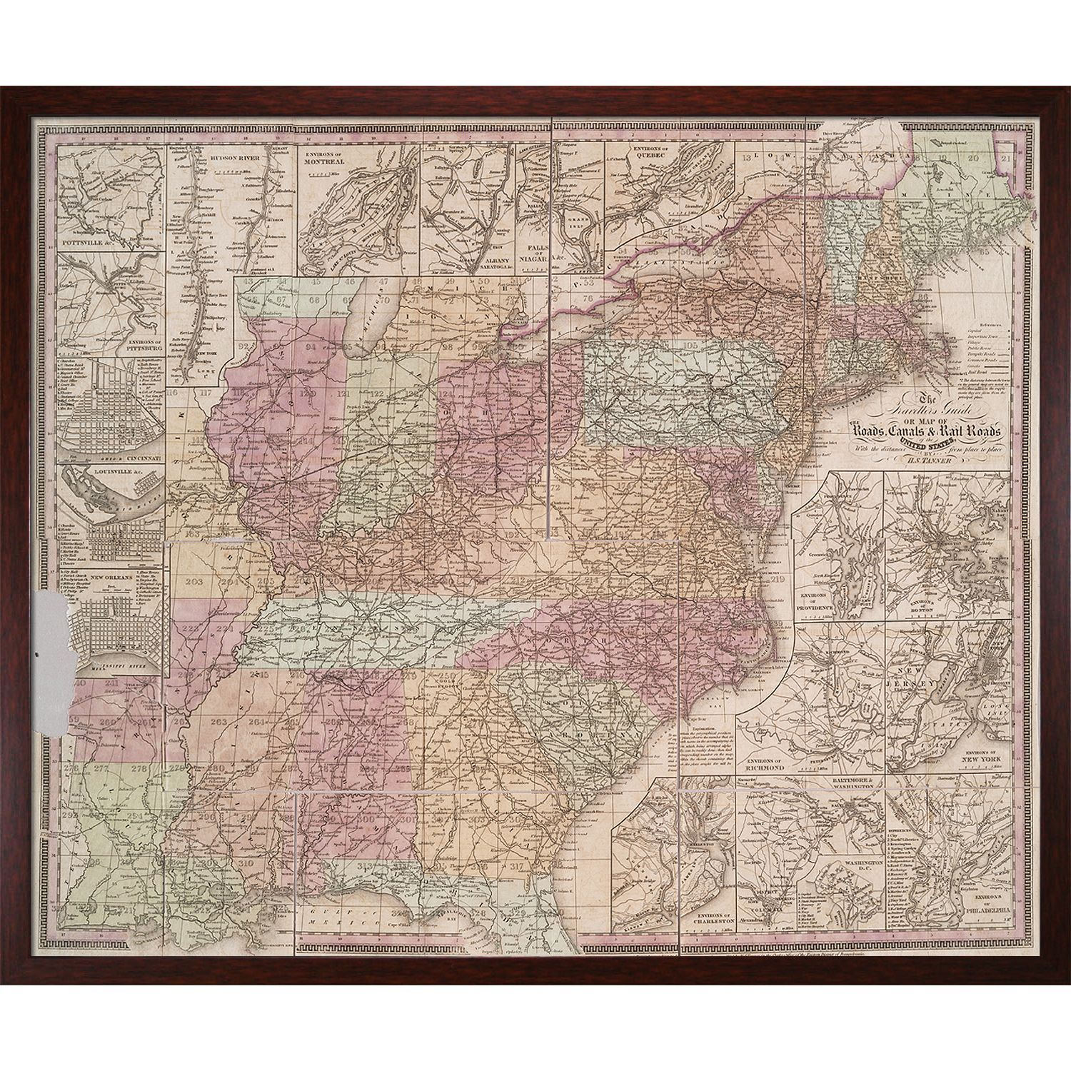 La Pastiche Vintage Collection 'Early United States' Framed High Quality Print on Canvas