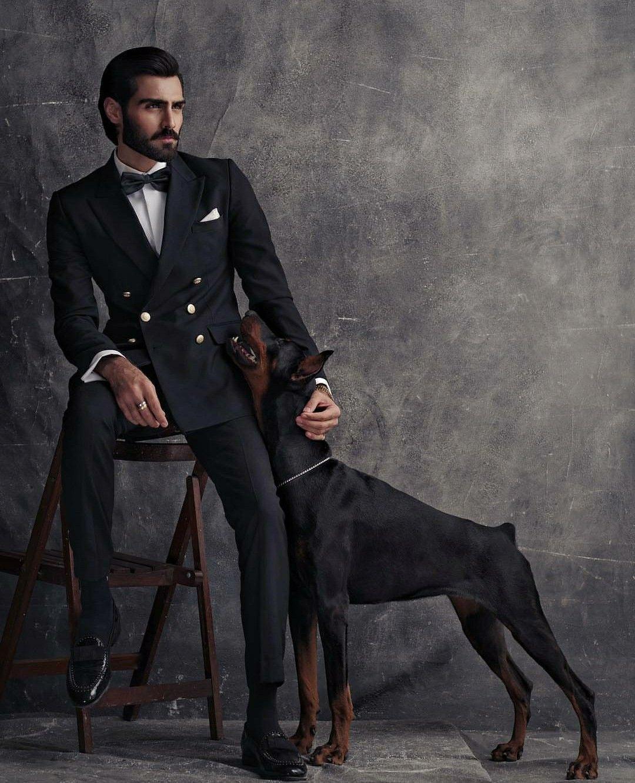 Handsome Man Handsome Dog Menssuitsblack With Images Wedding