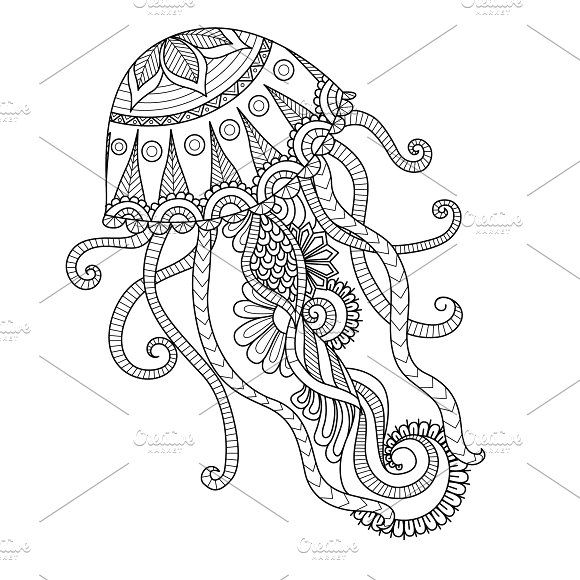 Zendoodle Of Jellyfish Mandala Coloring Pages Mandala Coloring Animal Coloring Pages