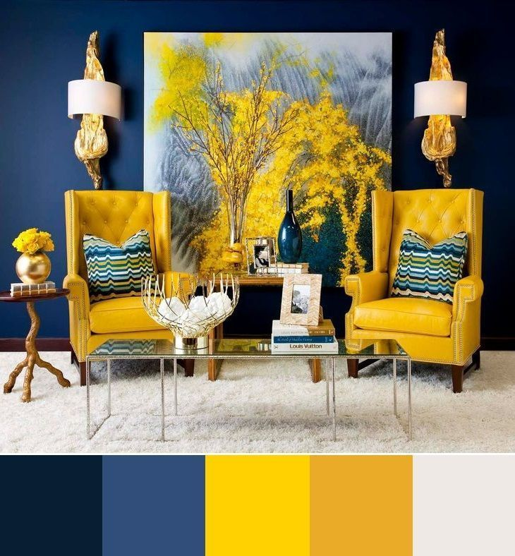 Photo of Blue and yellow interior color scheme #blue #color #design #yellow #int