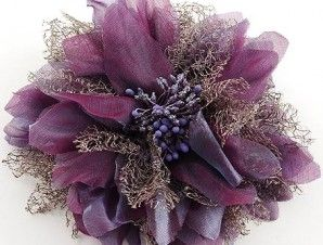 Purple Fabric / Flower Brooch/hair Pin Hair Accessory