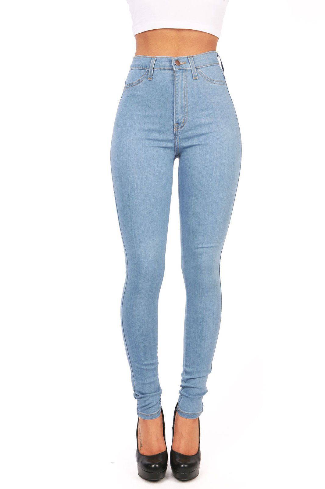 Women/'s Denim Light Wash Faded Blue High Waist Hot Pants Ladies Fitted Shorts