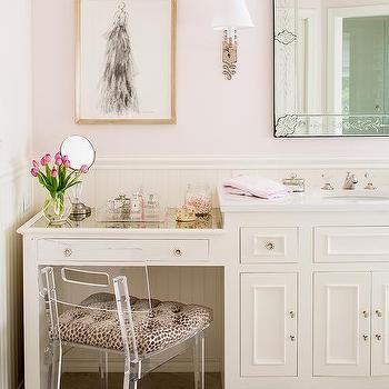 Acrylic Vanity Chair With Cheetah Cushion Bathroom With Makeup
