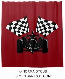 Indy Style Of Race Car With Checked Flags Shower Curtain By SportsArtZoo Racing Decor IndyCar