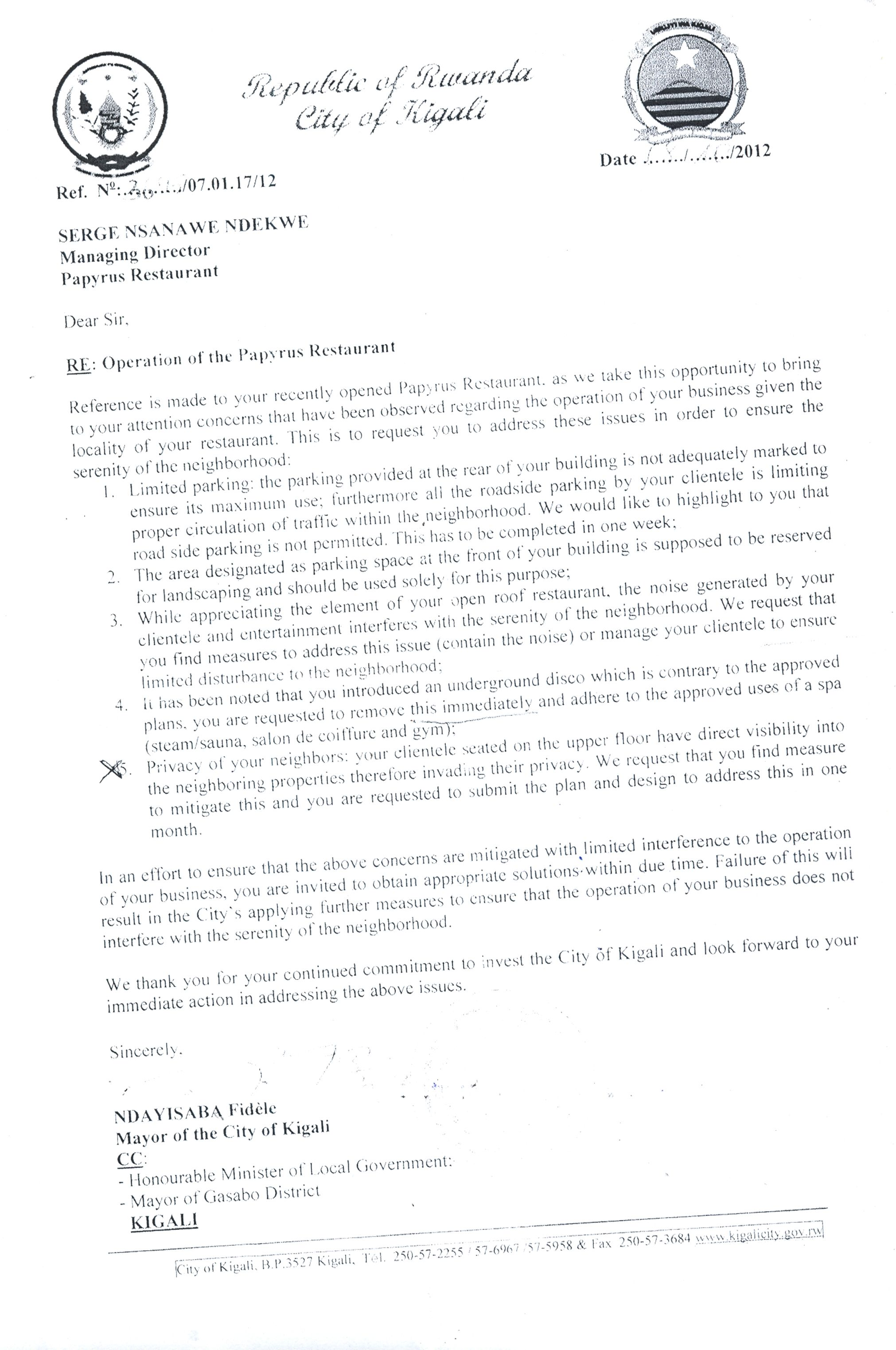Kcc Letter To Papyrus Closing Letterclosing A Letter Formal Letter