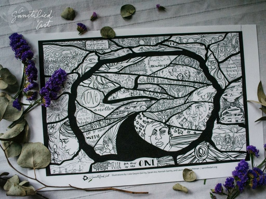 Lenten Coloring Poster Of The Empty Tomb Divided Into 40